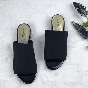 East 5th black stretchy slide on heeled sandals 👡